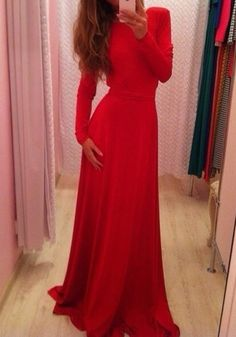 Red Plain Belt Backless Long Sleeve Sexy Prom Evening Party Maxi Dress
