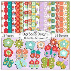 Digital Scrapbooking: Butterflies & Flowers 2 Digital Scrapbook Kit, Buy 2 Kits Get 1 Free Special. $4.00, via Etsy.