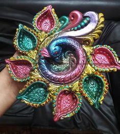 Diwali Diya, Diwali Craft, T Lights, Festival Lights, Clay Art, Creative Art, Colours, Candles, Sculpture