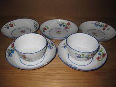Set of Antique English Georgian Porcelain - 2 Tea Cup Bowls 5 Saucers Blue Rim #Georgian #Unknown