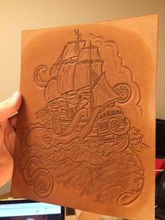Kracken. Hand carved leather design.