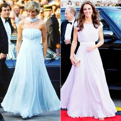 26 Time Princess Diana and Kate Middleton Were Style Twins (Plus Shop Their Looks! Kate Middleton Stil, Estilo Kate Middleton, Duchess Of York, Duchess Of Cambridge, Chiffon Dress, Princess Diana Fashion, Kate And Meghan, Alexander Mcqueen Dresses, Royals
