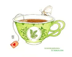 'Tiger Moth Teacup' - by watercolor artist, Maia Kobabe -- *red-gold-sparks on deviantART