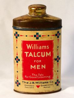 Vintage WILLIAMS TALCUM FOR MEN TIN With Powder USA 4 oz Shaker 1900's Contents #Williams