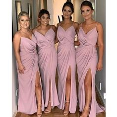 Spaghetti Strap Side Split Long Bridesmaid Dresses Material: FDY, elastic silk like satin, pongee. Color: picture color or other colors, there are 126 colors are available, ple Dusty Rose Bridesmaid Dresses, Cheap Bridesmaid Dresses Online, Bridesmaid Dress Colors, Wedding Bridesmaids, Wedding Gowns, Blush Pink Bridesmaids, Cocktail Bridesmaid Dresses, Bridesmaid Shoes, Bridesmaid Ideas