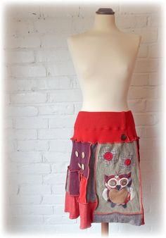 Folk Owl Red Upcycled Skirt Aline Cute Stretch Flared Boho Hippie Flower Unique Recycled Eco Clothing Wearable Art. Elastic Waistband Medium