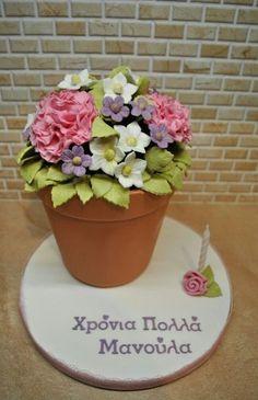 Super birthday cake for mom mothers fondant flower pots 36 ideas New Cake Design, Cool Cake Designs, Bolo Floral, Floral Cake, Mom Cake, Cake Boss, Flower Pot Cake, Flower Pots, Friendship Cake