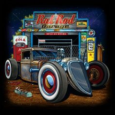 Get Your Rod Serviced Here Long Sleeve T-Shirt M-3XL Rat Rod Hot Girl Junkyard