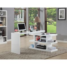 Modern and Stylish this desk is the Ideal choice for your home office. This Beautiful white glossy desk features a turnable shelf base that provides storage as well as stability. Quantity: One (1) off