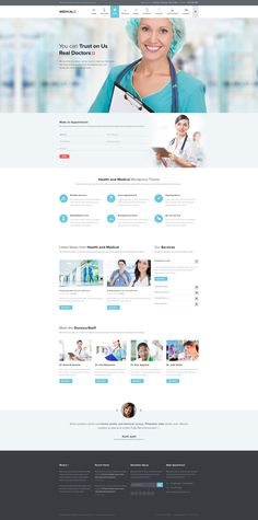 Website design inspiration for medical company / doctor / pharmaceutical Hospital Website, Dentist Website, Healthcare Website, Medical Sites, Web Responsive, Medical Design, Website Design Inspiration, Design Ideas, Website Layout