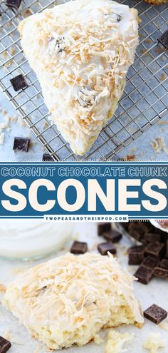 There is no bad time to enjoy these Coconut Chocolate Chunk Scones! This simple Easter breakfast recipe is soft and fluffy. This quick and easy spring recipe is loaded with toasted coconut and chocolate chunks, which makes them even more amazing! They are the best scones recipe ever!