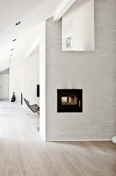 Scandinavian Design: Fredensborg House by NORM Architects Minimalist Interior, Minimalist Home, White Washed Floors, Interior Minimalista, Living Room With Fireplace, Floor Decor, Interiores Design, Scandinavian Design, Interior Inspiration