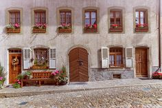 Facade of a historical house in Gruyere village, Switzerland Places In Switzerland, Famous Places, Historic Homes, Travel Photos, Fine Art America, Facades, Recherche Google, House, Beautiful