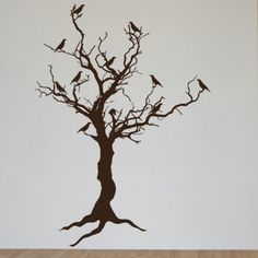 Stark Tree with Birds and Exposed Roots. This will live next to my window. $95
