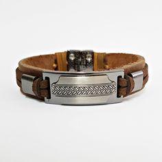 Pulseira Bracelete Masculina Couro Fecho Magnetico Tribal mens bracelets moda fashion leather homem style cocar brasil