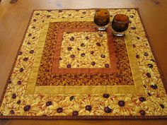 Quilted Table Topper Golden Flowers