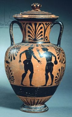 Amphora depicting athletes. Black-figure pottery. Etruscan Civilization, 6th Century BC. Artwork-location: Copenhagen, Ny Carlsberg Glyptotek (Archaeologicaland Art Museum)