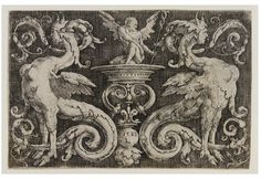 Engraving by Lucas Van Leyden - Victoria and Albert Museum, London. This 16th-century ornament print by Lucas Hugensz van Leyden shows an asymmetrical design in the grotesque style. 'Grotesque' derives from the Italian word grottesco. The style was inspired by ancient Roman designs discovered at the end of the 15th century in the underground rooms, or grottoes, of the Golden House of Emperor Nero in Rome. #art #grotesques #decor #16thcentury
