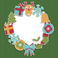 Seasonal christmas frame decoration with ornaments. Files included Illustrator CS5, CS, EPS10 and High Res Jpeg.