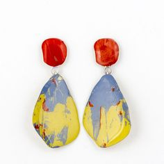 Painted brass earrings by Johanne Ratté 2016 @lesjoanneries.com #earrings #contemporaryjewelry
