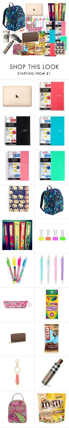 What's in My Backpack by preppy-pearlgirl on Polyvore featuring Vera Bradley, Burberry, Tory Burch, Five Star, ACCO and Lilly Pulitzer