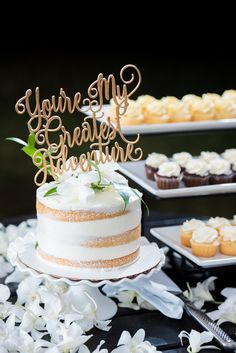 Wedding cakes. Naked cakes. You're my greatest adventure cake topper. Beach wedding. Destination wedding. Simple, classy and elegant. Kauai wedding. @kauaitent @tietheknothawaii @nationaltropicalbotanicalgardens @hanakapaigrossephotography @kawaiikupcake