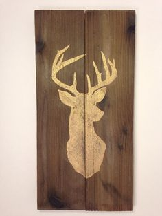 Gold Deer Silhouette Wood Sign by ArrowsandApricots on Etsy, $20.00  Check out the website for more