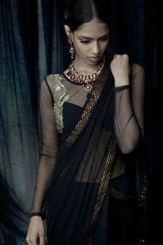Stunning Black & Gold Saree Ensemble by Varun Bahl