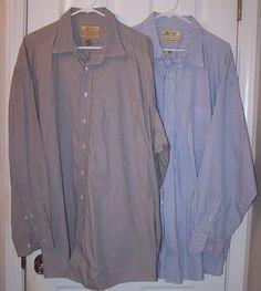 2 #Roundtree #Yorke Mens Long Sleeve #Gold Label #3XT #Dress #Shirt Big 19 / 35 EUC! #RoundtreeYorke