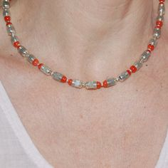 Handmade silver necklace, Red coral necklace, Sterling silver necklace, Gift for her. by kreitto on Etsy