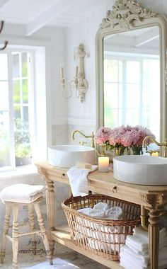 Home Decor Living Room Elegant French cottage bathroom renovation.Home Decor Living Room Elegant French cottage bathroom renovation Country Style Bathrooms, French Country Bedrooms, French Country Cottage, Country Living, Chic Bathrooms, French Country Bathroom Ideas, French Bathroom Decor, Country Cottages, Kitchen Country