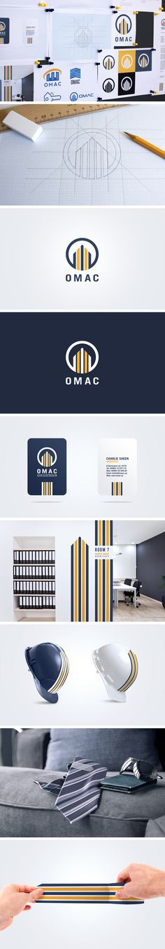 Brand Identity Design by Pixelinme for OMAC, an architectural construction company. by Pixelinme www.pixelin.me #logo #identity #branding #Azerbaijan #Baku #stationary #yellow #violet #building #construction #architect #pixelinme