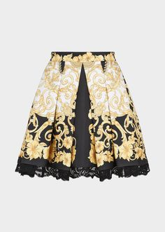 0ef2e7db9f7 Gold Hibiscus Silk Twill Skirt - print Skirts Versace Gold