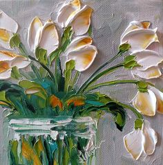 Title: Touch of Amber Tulips Medium:  Painting- Oil on Canvas Artist: Jan Ironside