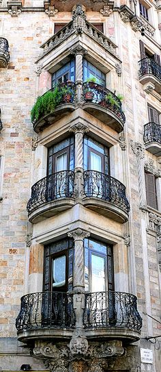 Beautiful Barcelona balconies, Spain