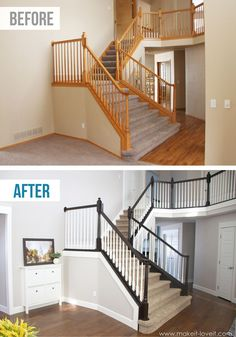 How to Stain/Paint an Oak Banister (the shortcut method…no sanding needed!) DIY: How to Stain and Paint an OAK Banister, Spindles, and Newel Posts (the shortcut method.no sanding needed! Oak Banister, Wood Railings For Stairs, Diy Stair Railing, Banisters, Painted Banister, Painted Staircases, Stained Staircase, White Banister, Staircase Glass