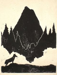 Lino Print by Becca Thorne, Leicester, mountain, wolf, forest, illustration, graphics