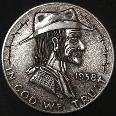 CHAD SMITH HOBO HALF DOLLAR - HOWDY - 1958 FRANKLIN HALF DOLLAR Hobo Nickel, Half Dollar, Coins, Carving, Rooms, Wood Carvings, Sculptures, Printmaking, Wood Carving