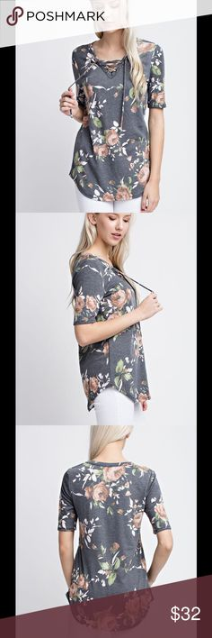 "🆕LINDSEY TOP Floral French Terry Top with 1/2 Sleeves. Features a f-neck with a tied-up string detail.  Fit: Runs True to Size  Size: Small Bust-34"" Length-26""  Medium Bust 36"" Length-27""  Large Bust 38"" Length-28""  Material:60%Polyester 35% Rayon  5%Spandex  Care: Hand Wash  MADE IN THE USA Tops"