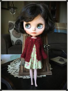Blythe Doll Knitted Alpaca Cardigan  Deep Maroon Red