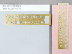 Brass bookmark stencil.