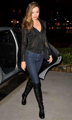 Miranda Kerr. Over the knee black boots