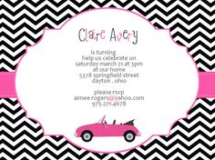 Pink Car Invite Printable  Birthday Baby Shower  by 527Studio, $14.00