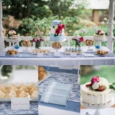 This cake and buffet collection was designed to incorporate lace and pearls with dusty periwinkle blue and pops of deep pink and whites. Elegant and vintage with high tea setting for a beautiful garden wedding or event. The main cake is done in buttercream 2 toned blue and white with fresh roses in pink and whites.  Photos @passion8photography  Flowers @tyabbroses  Chocolates @chocworks stationary @invite_and_co  Venue and gardens @linleyestate  Furniture and linen @weddinghiremelbourne…