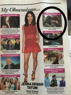 TV Guide issue for July, 2017. On the obsessions page, Jenna Dewan Tatum, who is also moderating the San Diego Comic Con 2017 for Outlander, answers questions on, the My Quilty Pleasure article - Outlander