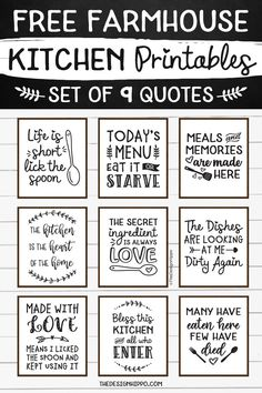 Free Farmhouse Kitchen Decor Printables - Set Of 9 Quotes