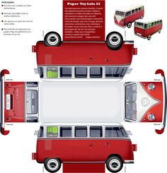 Miniature Printables - VW Kombi Paper Model - by Lola 33 - via Cogumelo Louco -- An easy-to-build Classic VW Kombi with realistic textures, created by Brazilian website Lola 33 and posted at Cogumelo Louco website.