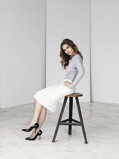 Image pic: White pencil skirt with long sleeved tee - SS15. Model: Beate Bille