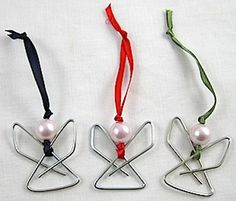 Simple and pretty paperclip angels - lots of Christmas crafts at Craftaholics Anonymous