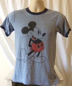 SOLD Authentic 70s 80s Paper Thin Vintage Mickey Mouse Ringer T shirt  Super Thin Sm #WaltDisneyProductions #ringertshirt